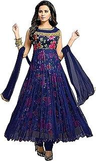 c7db38cbdc9c Drashti Villa Women's Bangalory Silk Printed and Net Anarkali Gown (Free  size)