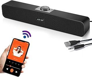 PCスピーカー サウンドバー 臨場感高音質 Bluetooth 5.0 小型テレビスピーカー 大音量 テレビ/パソコン/スマホ対応 AUX接続 USB給電