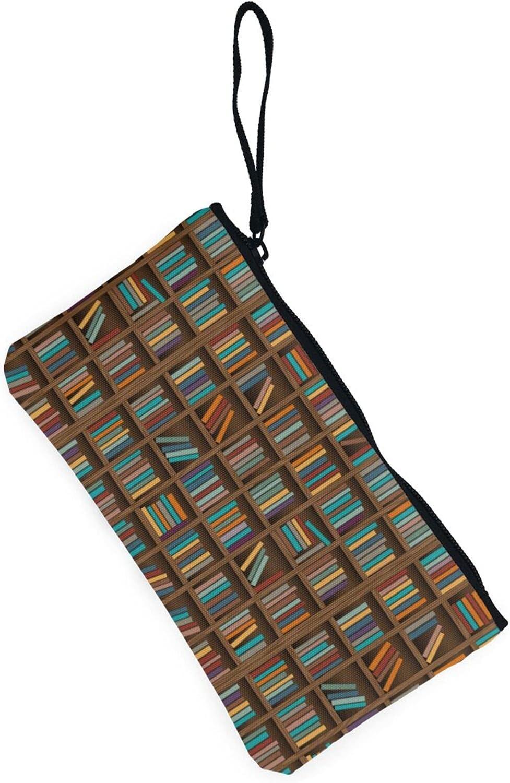 AORRUAM Library Bookshelf Canvas Coin Purse,Canvas Zipper Pencil Cases,Canvas Change Purse Pouch Mini Wallet Coin Bag