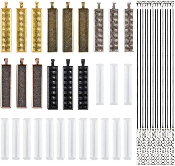 30 opinioni per AFUNTA- 15 vassoi rettangolari per ciondoli con 15 piastrelle in vetro e 15