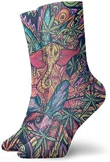 yting, Niños Niñas Locos Divertidos Trippy Multi Color Marihuana Leaf Weed Art Calcetines Cute Novedad Calcetines de vestir