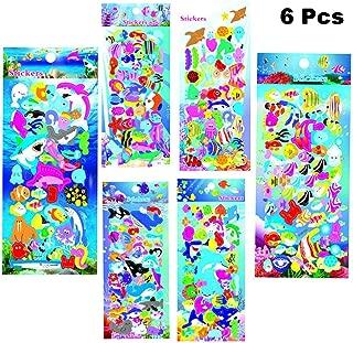 Finduat 6 Sheet Sea Animal World Three-Dimensional Pvc Foam Stickers with Hippocampus, Starfish, Angelfish, Sharks, Children's Cartoon Bubble Stickers Toddler Reward Stickers (240 Stickers)