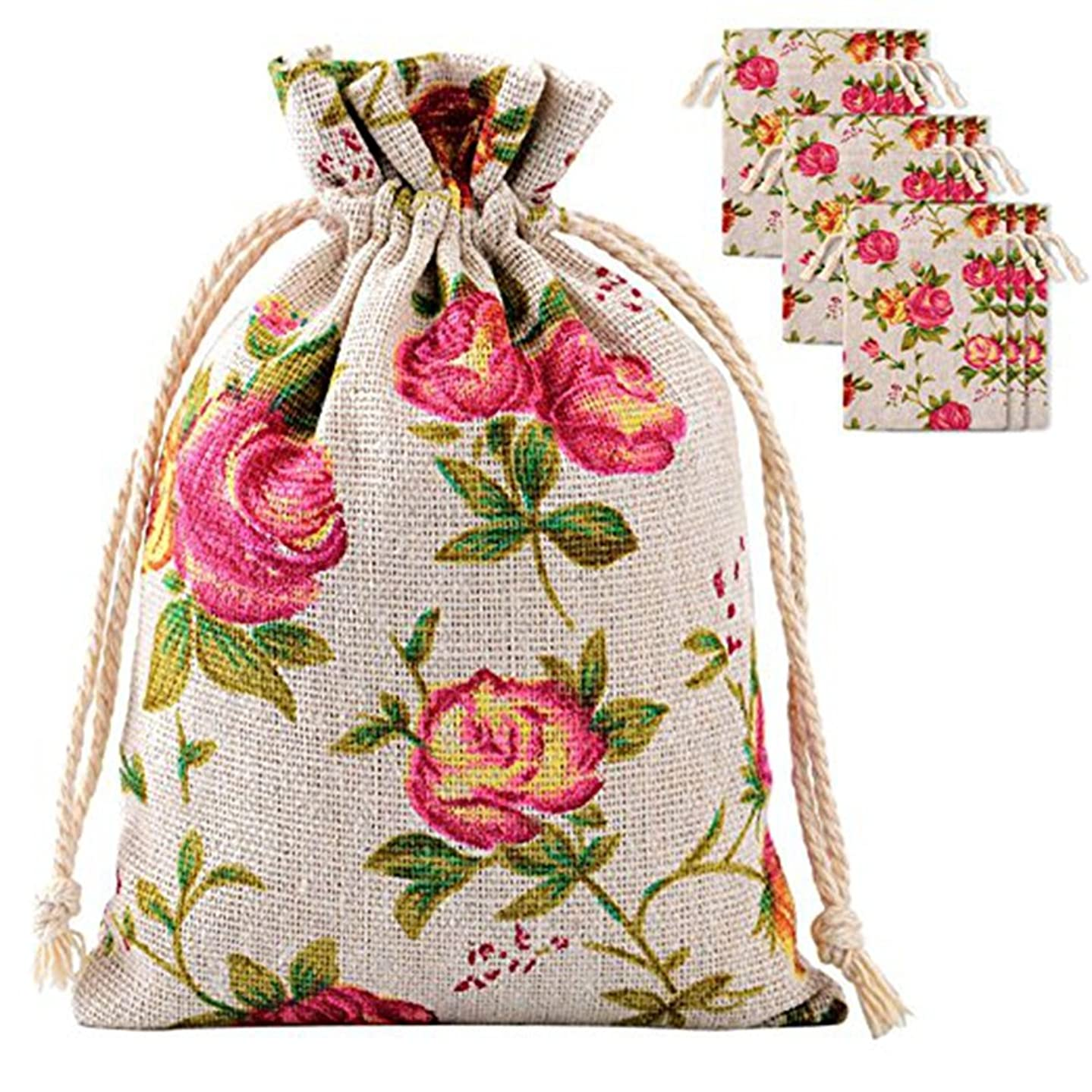30 Pack Roses Pattern Double Drawstring Linen Bags Burlap Bags with Drawstring Gift Bags Jewelry Pouch for Wedding Party and DIY Craft 3.9 by 5.3 Inches (Roses Pattern Bags)