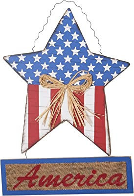 "Worth Imports 18"" Hanging Wood Americana Star"