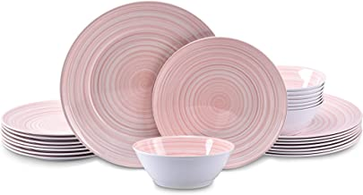 Joviton HOME 24PCS Heavenly Pink Melamine Dinnerware Sets for 8,Outdoor Plates and Bowls Sets (Heavenly Pink)