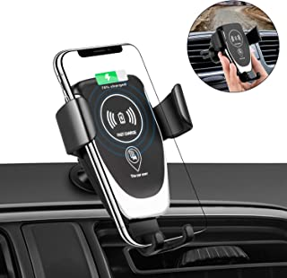 Alibron Wireless Car Charger Mount, One-Hand Auto Clamping Air Vent Phone Holder, 10W Fast Charging for Samsung Galaxy S9 S8 S7 Note 8. 7.5W Compatible with iPhone Xs XR X 8 and Qi Enabled Devices