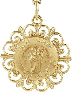 Bonyak Jewelry 14k Yellow Gold 18 mm Round St. Patrick Medal