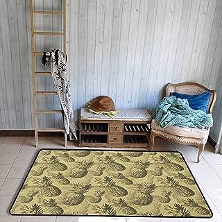 Bedroom Rug,Pineapple Botanical Grunge Pattern with Tropical Island Fruits Vintage Effect,Large Area mat,3'3