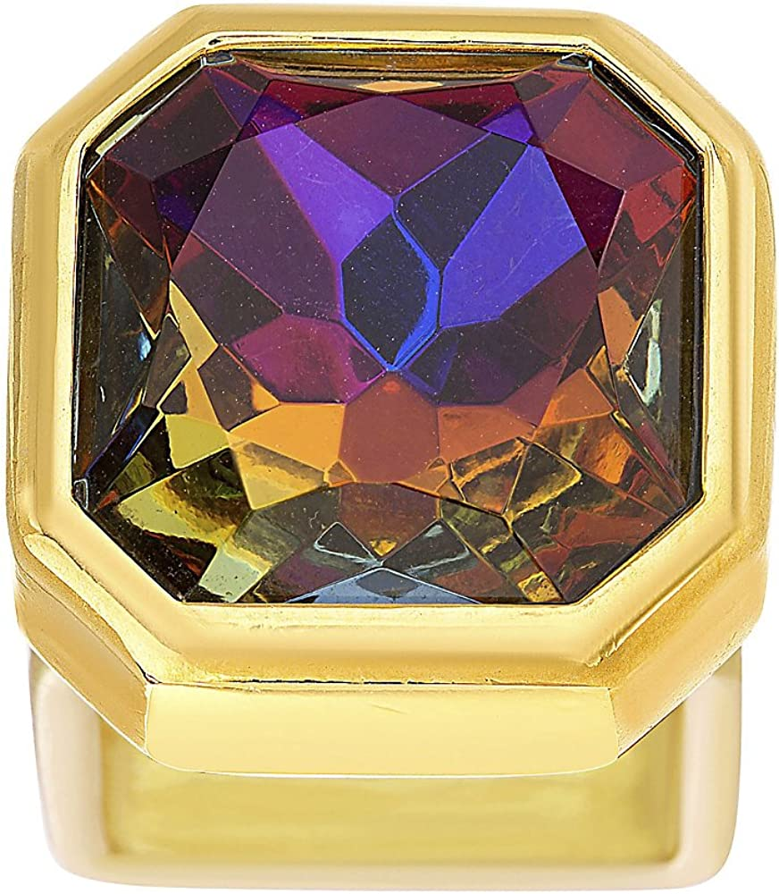 Steve Madden Yellow Gold Tone Multicolor Large Square Rhinestone Statement Ring For Women