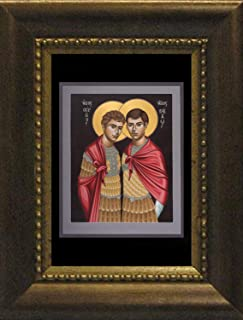 Trinity Stores Desk Framed Religious Art Print - Bronze 5½x7 - STS. Sergius and Bacchus by Br. Robert Lentz, OFM