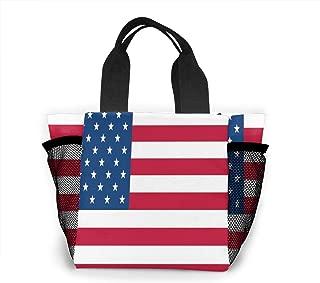 Reusable Grocery Bags USA Flag Small Tote Bag Lunch Bag for Women