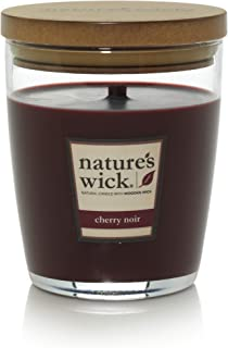 Nature's Wick Cherry Noir Scented Candle 10 oz. Jarred Candle Natural Wood Wick Candle with up to 65 Hour Burn Time