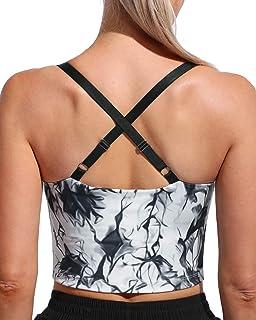 WALK FIELD Women Adjustable Sports Bras Wirefree Padded Longline Cami Bras for Workout Yoga Fitness