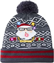 uideazone 6 Colorful Light Up Christmas Hat Funny Santa Claus Pattern Xmas Element Knitted Beanie Hat Caps
