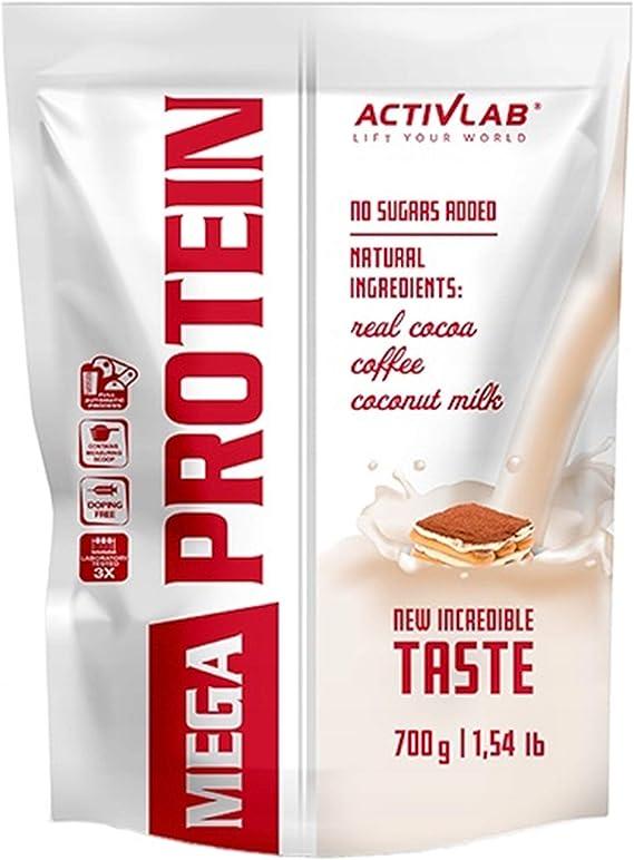 Activlab Mega Protein Confezione da 1 x 700g Concentrado de Proteína de Suero Con Monohidrato de Creatina y Taurina Sin Azúcar Añadido (Mocca)