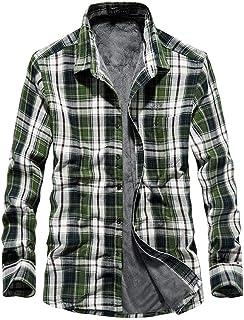 Camisa de Cuadros Casual,Chaqueta de Transición para Hombre,Abrigo Chaqueta Cálida de Invierno,Camisa Casual de Manga Larg...