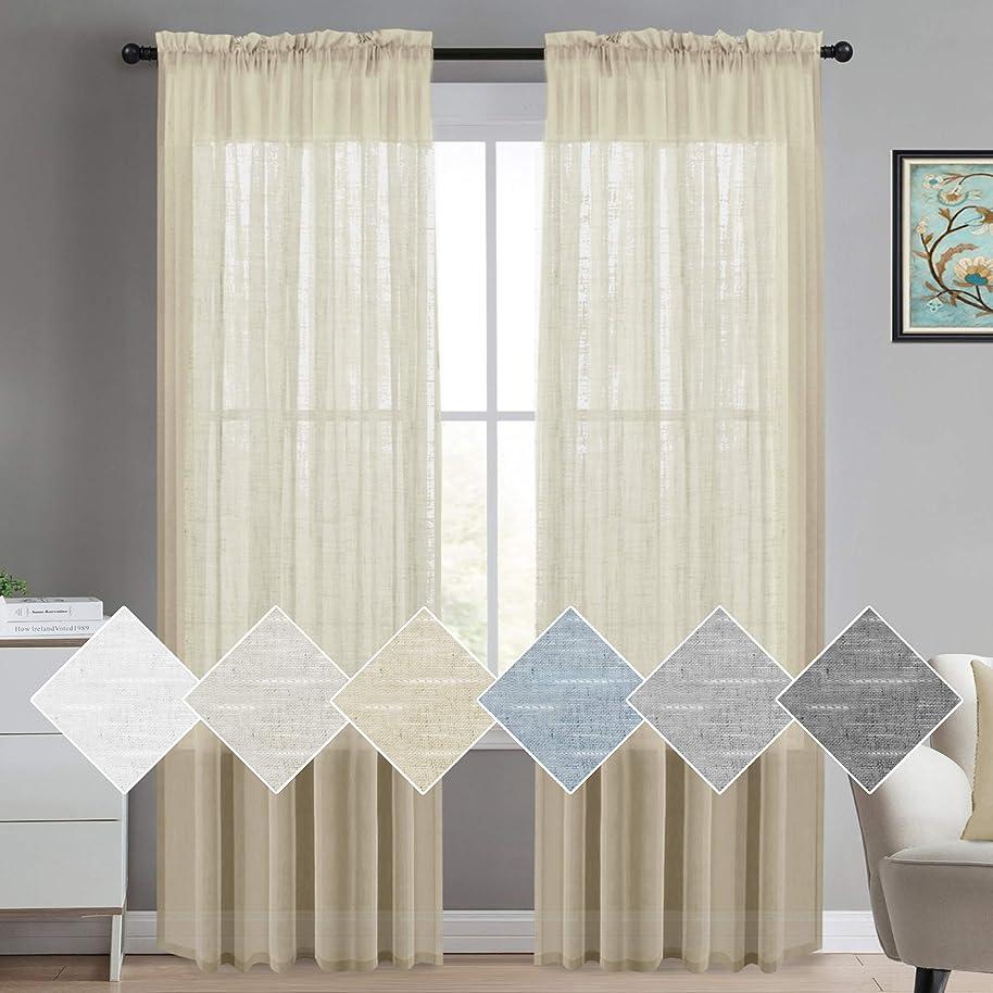 Linen Sheer Curtains Extra Long Linen Curtains Sheer Rod Pocket Rich Linen Window Panel Drapes, Solid Linen Sheer Curtains Draperies for Living Room/Bedroom Linen Curtains 108, Set of 2, Beige
