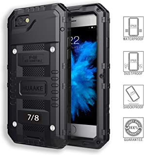 HUAAKE IPhone7 Waterproof Case Iphone8 Metal Case Diving Protection Cover Dustproof Shockproof Outdoor Sports Special Case Strong and Sturdy for Iphone7&8