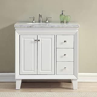 Silkroad Exclusive Bathroom Vanity Carrara White Marble Top Single Sink Cabinet, 36