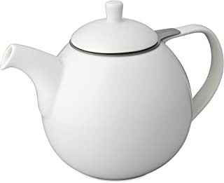 FORLIFE Curve Teapot with Infuser, 45-Ounce, White