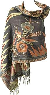 Women Soft Metallic Shiny Double Layer Reversible Pashmina Shawl Wrap Scarf Stole