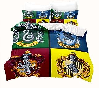 LKFFHAVD Harry Potter Parure de lit Hogwarts avec housse de couette et taies d'oreiller en microfibre Motif Hermione 220 x...