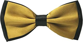 black shirt gold bow tie