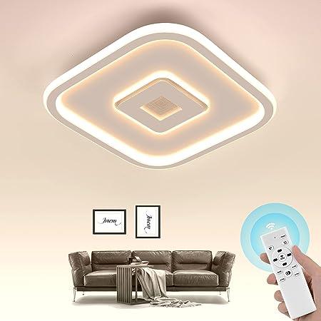 Wayrank LED Plafonnier Dimmable, Lampe de Lustre Led Moderne avec 3 couleurs, Éclairage de Plafond avec Télécommande pour Salon Chambre, 3000K-6000K, 30W, Carré