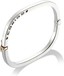 7de1b15ca Clogau Gold Silver and 9ct Rose Gold Contemporary Square Cariad Bangle