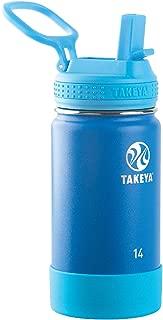Takeya 51129 Kids Insulated Water Bottle w/Straw Lid, 14 Ounce, Sky
