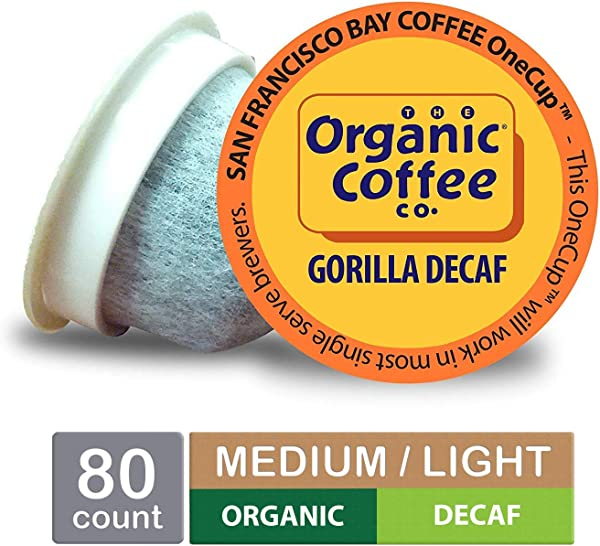 The Organic Coffee Co OneCup Gorilla DECAF Single Serve Coffee K Cup Pods 80 Count Keurig Compatible Swiss Water Process Decafeinated USDA Organic