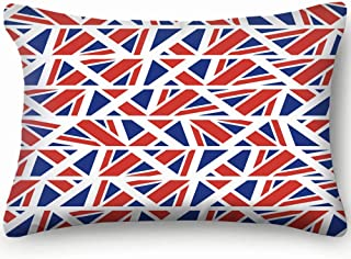 X-Large Geometric Pattern English Flag Shapes Colors Decor Pillowcase Soft Zippered Throw Pillow Cover Cushion Case Two Sided Printed Queen 20 X 36 Inch