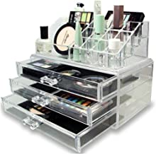 House of Quirk Acrylic Jewellery and Cosmetic Storage Display Boxes (9 cm x 5 cm x 7 cm, Clear)