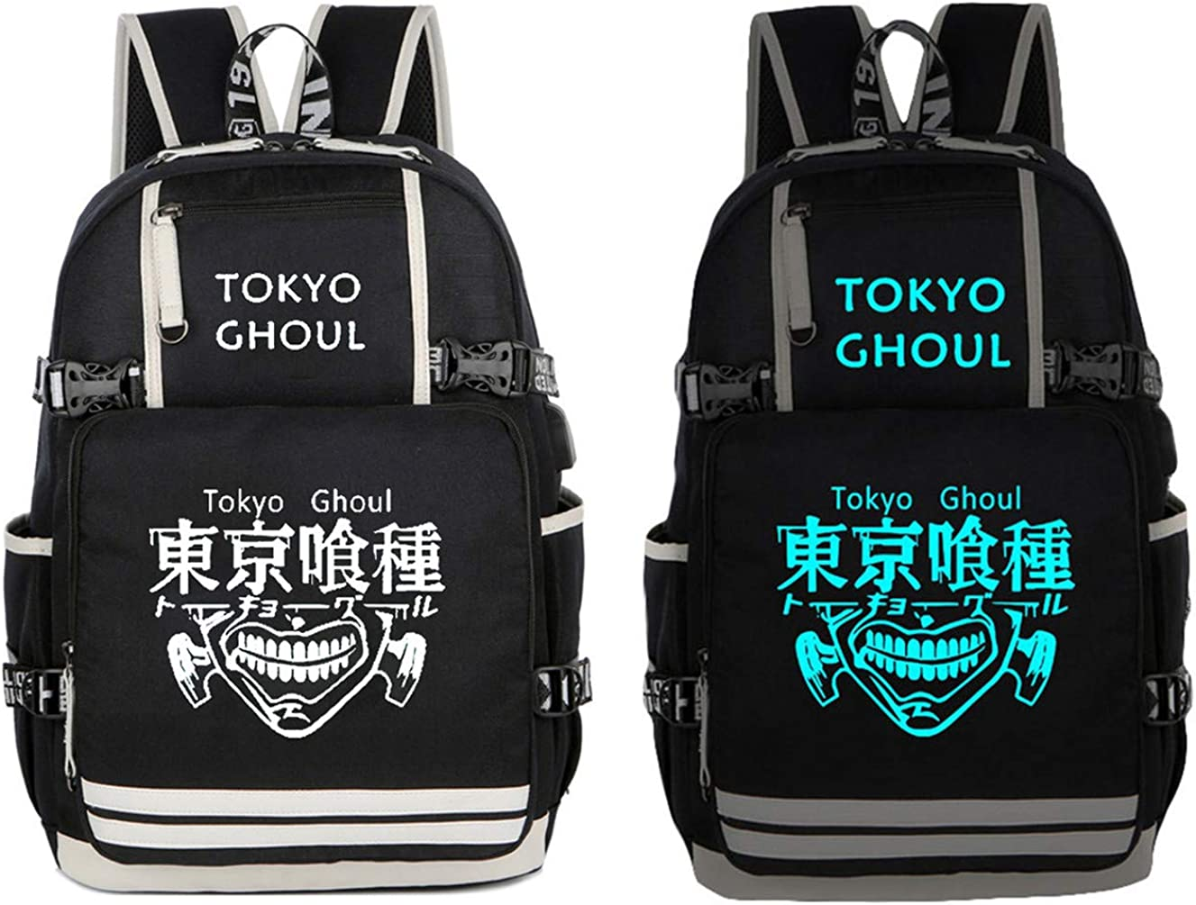 Gumstyle Tokyo Ghoul Anime Backpack with USB Charging Port Laptop Shoulder School Bag