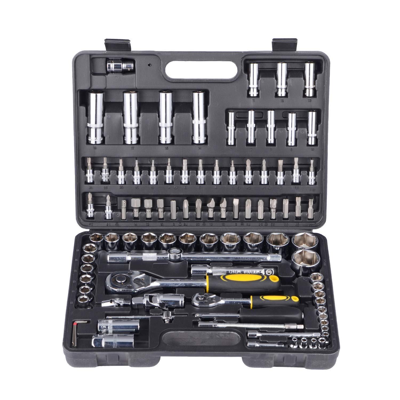 Maletín de herramientas DIY con vasos de llaves, brocas y carraca: Amazon.es: Bricolaje y herramientas
