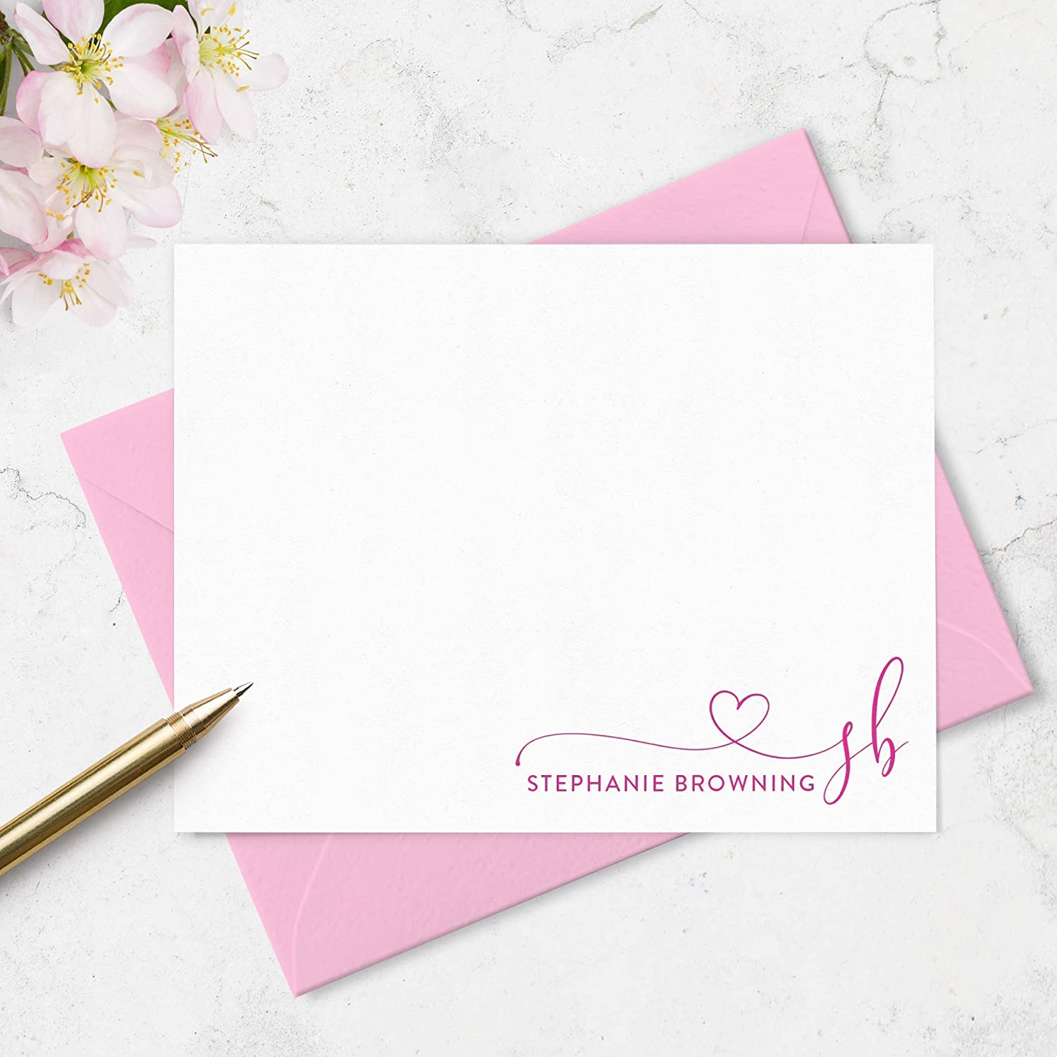 Monogram and Name Reservation Note Cards Heart Limited time trial price Personalized Stationery with