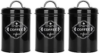 Les-Theresa 3 pièces ensemble de bocaux scellés noirs organisateur de rangement de cuisine à la maison boîtes de conserve ...
