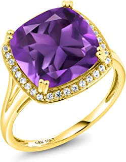 Gem Stone King 6.74 Ct Cushion Purple Amethyst White Diamond 10K Yellow Gold Ring (Available 5,6,7,8,9)