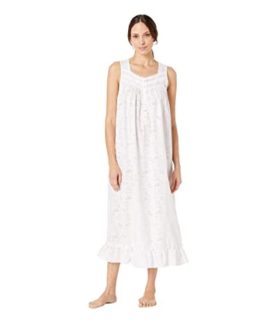Eileen West Woven Floral Burnout Sleeveless Ballet Nightgown (Solid White) Women