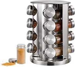 Spice Rack, kitchen rack with 16 Set of Spice Jars, Round Stainless Steel Spice Rack, Revolving Countertop Spice Rack towe...