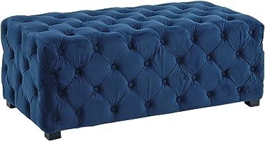 Casa Andrea Milano Classic Tufted Velvet Ottoman, Foot Stool (Navy Blue)