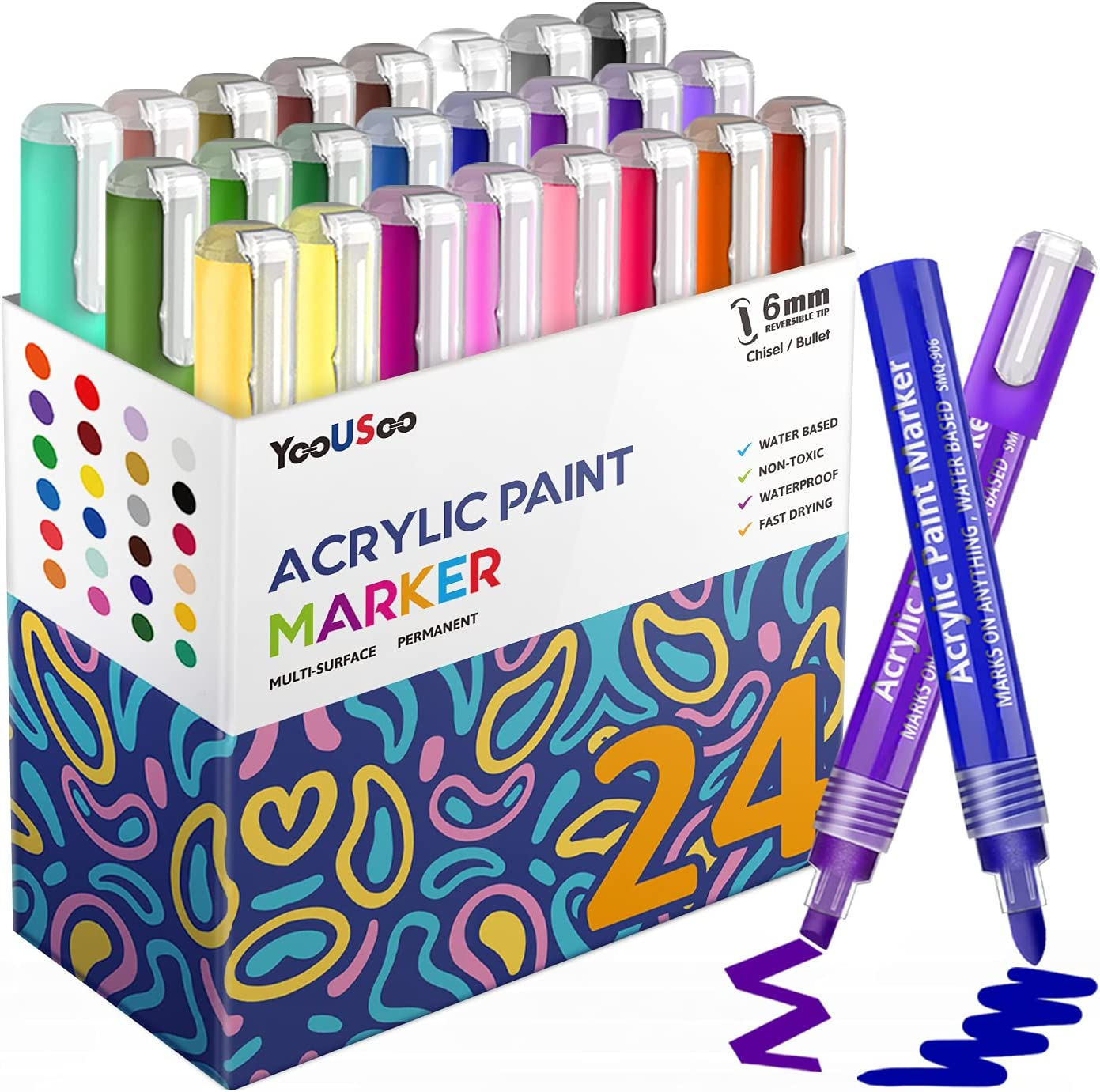 Acrylic Brand Cheap Sale Venue Paint Markers Set of Replaceable Latest item Jumbo 24 P Tips