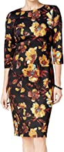 eci Women's Floral Contrast Printed Scuba Midi with 3/4 Sleeves