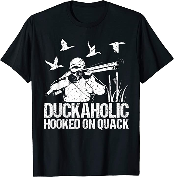 Mens Duckaholic T Shirt Fathers Day Duck Hunting Hunter ...