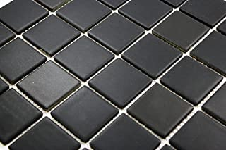 Porcelain Premium Quality 2x2 Black Square Matte Mosaic Tile, Great For Bathroom Tile, Floor Tile, Wall Tile and Kitchen Backsplash Tiles on 12x12 Sheet (Free Shipping)- ( Box of 5 Pcs)