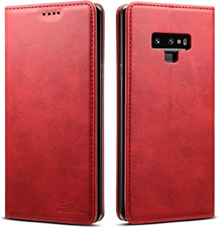 Galaxy Note 9 Case Wallet, TACOO Genuine Leather Slim Protective Card Money Holder Kickstand Magnetic 360 Protection Red Cover Shell for Samsung Galaxy Note9 2018