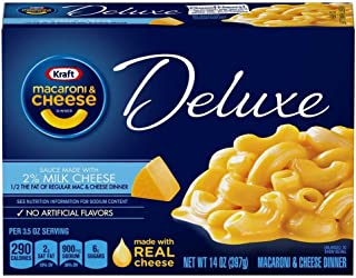 Kraft Deluxe Macaroni and Cheese Made with 2% Milk Cheese Meal (14 oz Boxes, Pack of 6)