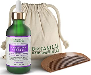Botanical Hair Growth Lab Scalp Stimulating Treatment Lavender - Cypress for Hair Loss and Hair Thinning Prevention DHT Blocker Postpartum Alopecia Pre-shampoo Organic Hair Growth Oil 4 Fl Oz