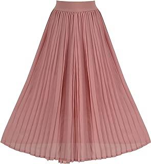 Women's Summer Chiffon Pleated A-line Midi Skirt Dress