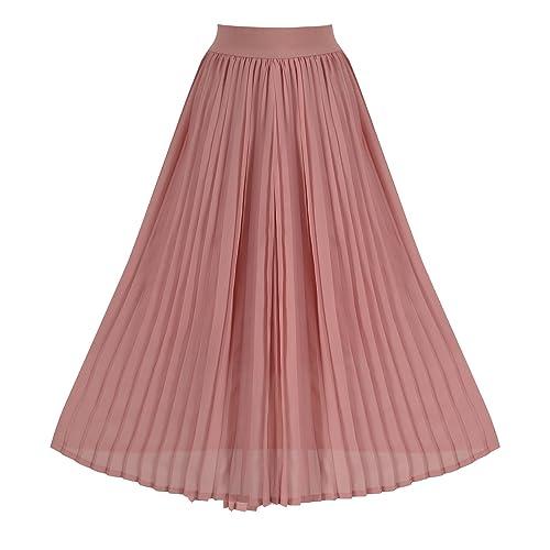 ece014da40 Howriis Women's Summer Chiffon Pleated A-line Midi Skirt Dress